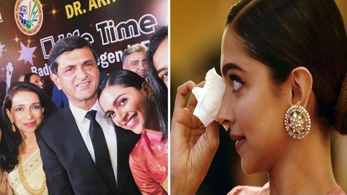Daughter Deepika Padukone gets teary-eyed as dad Prakash is honoured with Lifetime Achievement Award