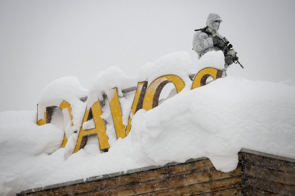 India everywhere at Davos, from billboards to platters