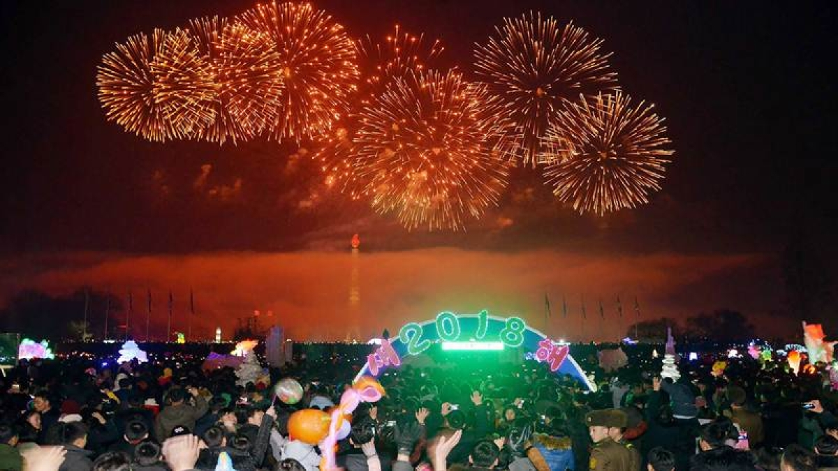 This picture from North Korea's official Korean Central News Agency (KCNA) taken and released on January 1, 2018 shows fireworks ushering in the New Year in Pyongyang.