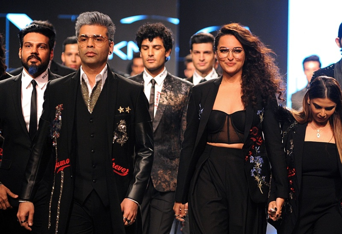 LFW 2018: Karan Johar, Sonakshi walk in Shane-Falguni's debut men's wear line at Lakme Fashion Week