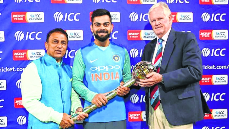 ICC presents Kohli with Test Championship Mace