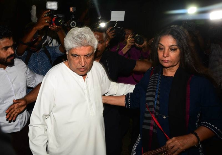 Javed Akhtar and Shabana Azmi coming out of Anil Kapoor residence.Photo by BL Soni