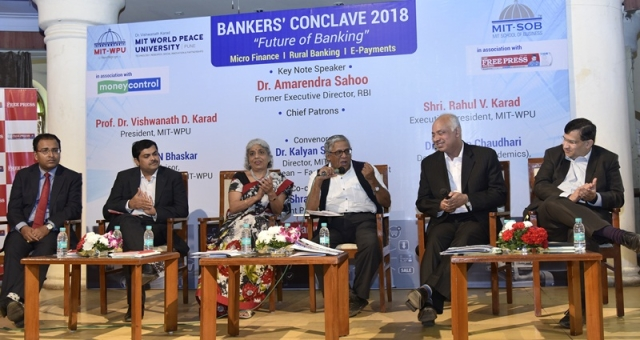 (L to R) NIBM's Naveen Kumar; IDFC's Veena Mankar; R N Bhaskar; Arohan's Manoj Nambiar; Vikrant Ponkshe formerly from Cosmos Bank, during the panel discussion.