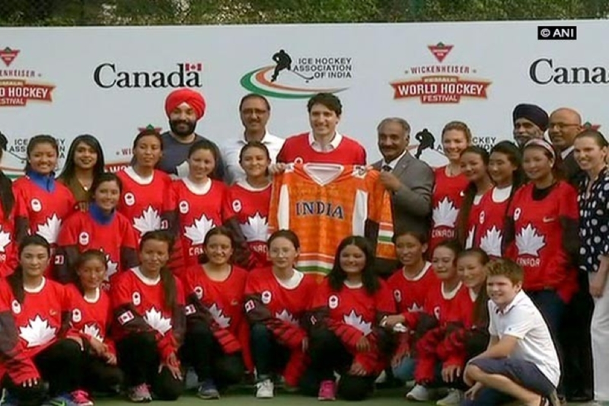 Canadian PM Justin Trudeau participates in Delhi hockey event