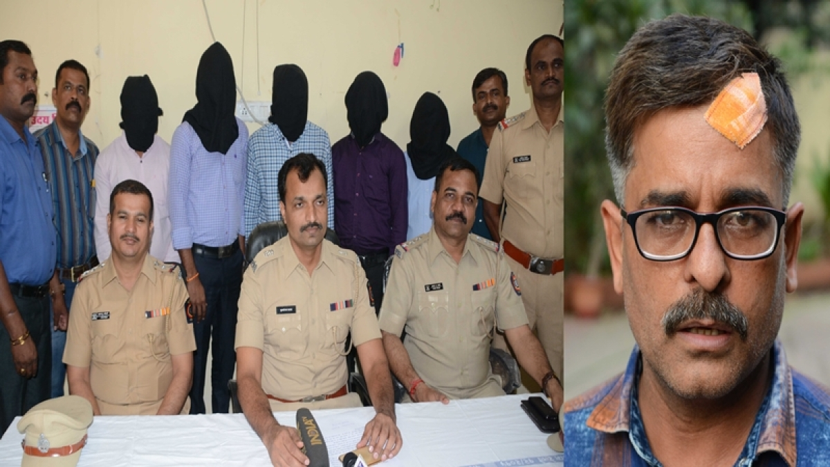 Mumbai : Railway Police arrested five person TV journalist Sudhir Shukla  was beaten up inside a suburban train on Wednesday morning Railway Police take press conference at Andheri   Railway Police Station . Photo by BL SONI