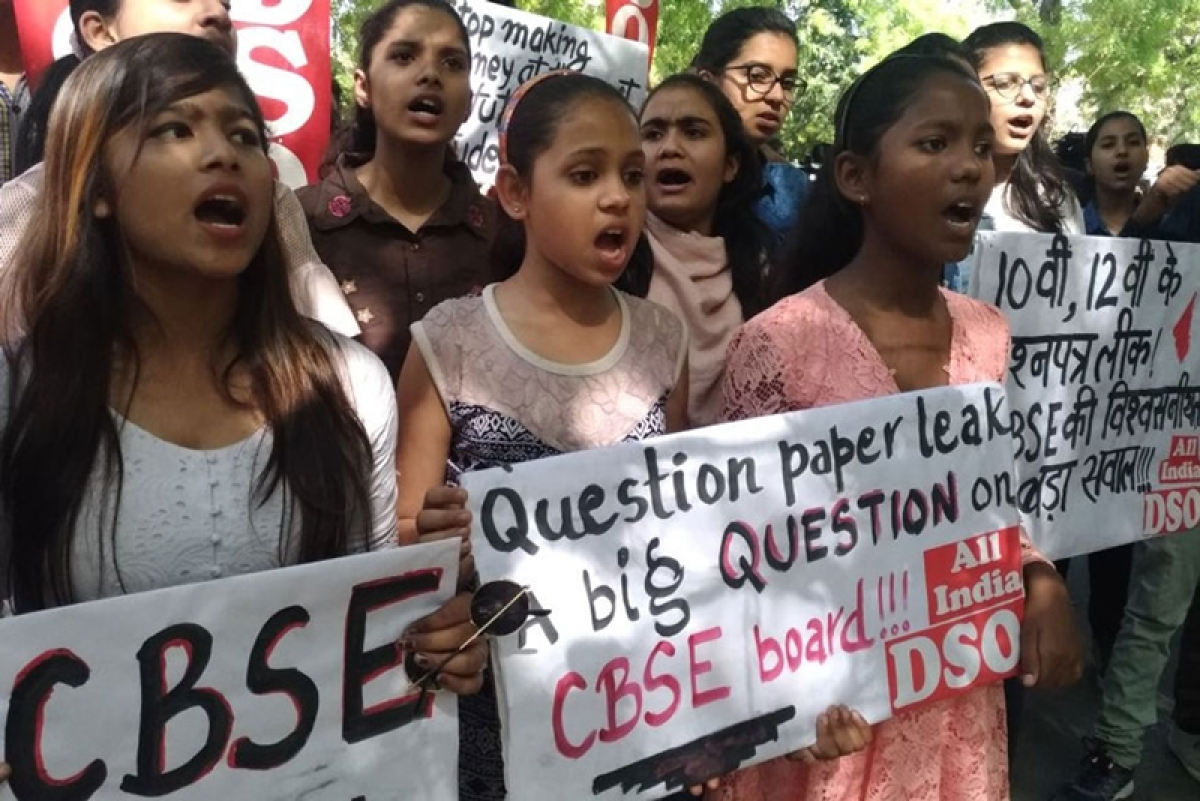 CBSE paper leak: Students protest outside CBSE office in Delhi