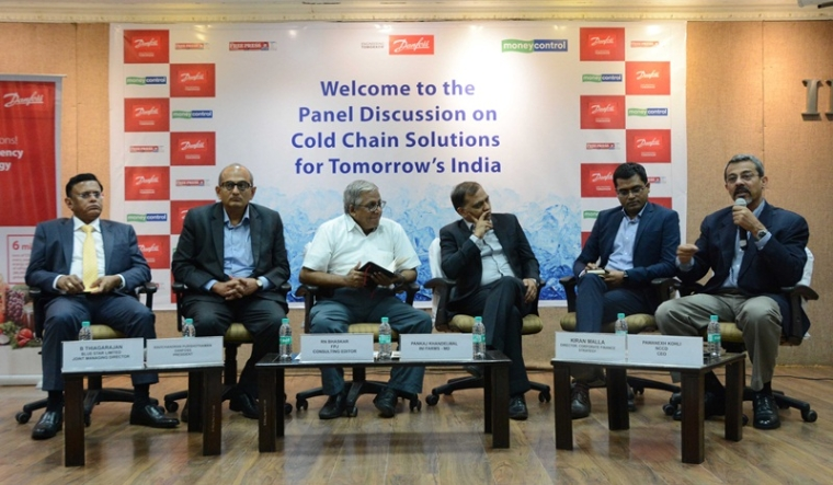 (L to R) B Thiagarajan, JMD, Blue Star Limited; Ravichandran Purshothaman, President, Danfoss India; Consulting Editor R N Bhaskar; Pankaj Khandelwal, MD, InI Farms; Kiran Malla, Director, Corporate Finance Strategy, EY and Pawanexh Kohli, CEO, NCCD.