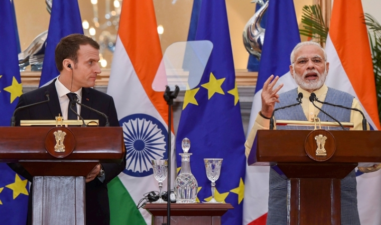 PM Modi with French President Emmanuel Macron.