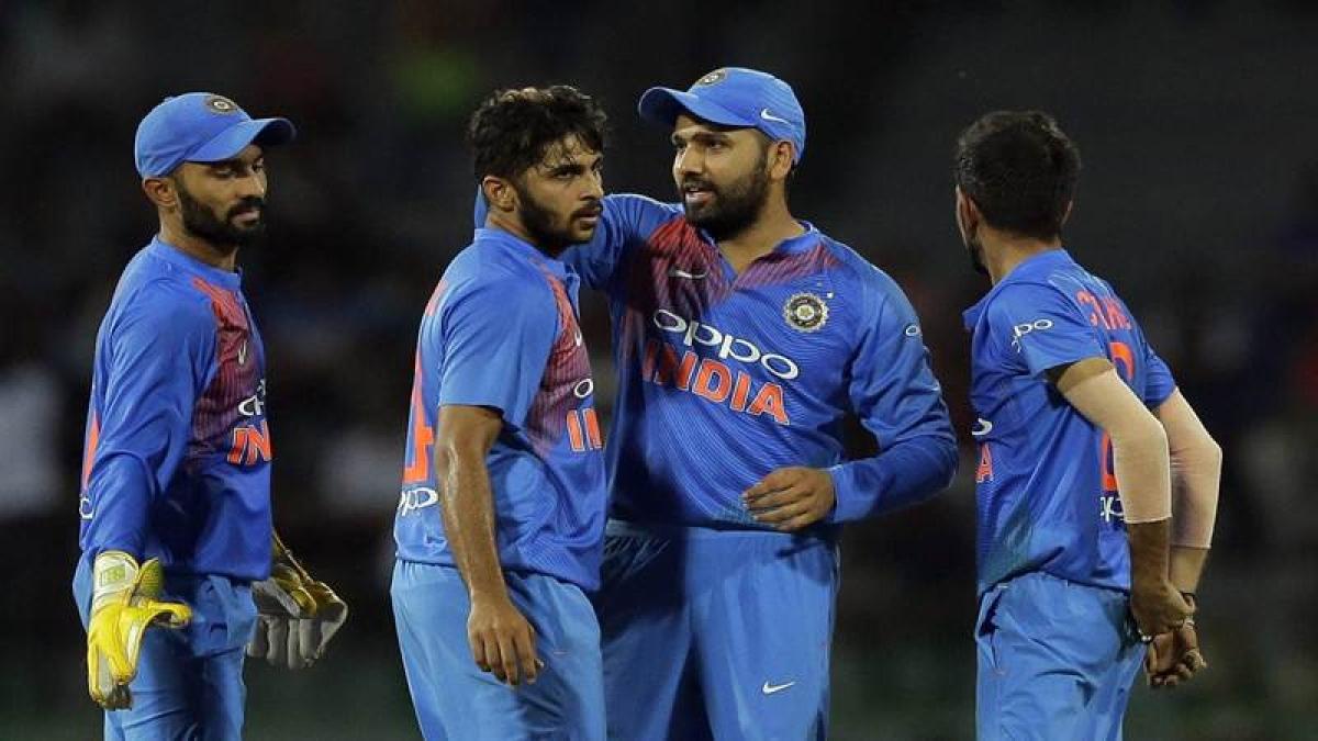 Colombo : India's Shardul Thakur, second left, celebrates the dismissal of Bangladesh's Sabbir Rahman during their second Twenty20 cricket match in Nidahas triangular series in Colombo, Sri Lanka, Wednesday, March 14, 2018. AP/ PTI(AP3_14_2018_000214B)