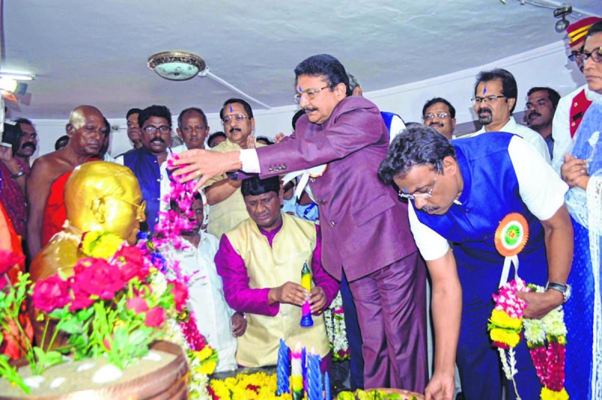 Mumbai: 127th Birth Anniversary of Bharatratna Mahamanav Dr. Babasaheb Ambedkar Mumbai Leaders and Governor C vidyasagar Rao offers Floral Tribute at Chaityabhumi Dadar . Photo by BL SONI