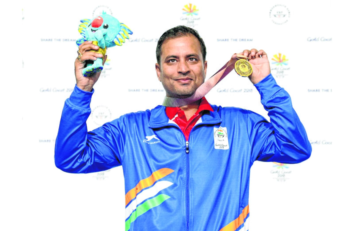 Brisbane: Sanjeev Rajput of India celebrates winning the gold medal at the men's 50m Rifle 3P final at the Belmont Shooting Centre during the 2018 Commonwealth Games in Brisbane, Australia, Saturday, April 14, 2018. AP/PTI(AP4_14_2018_000003B)