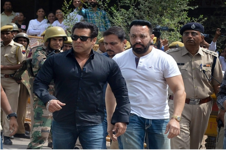 Salman Khan arrives at the court to hear the verdict in decades-old black buck poaching case, in Jodhpur. PTI Photo