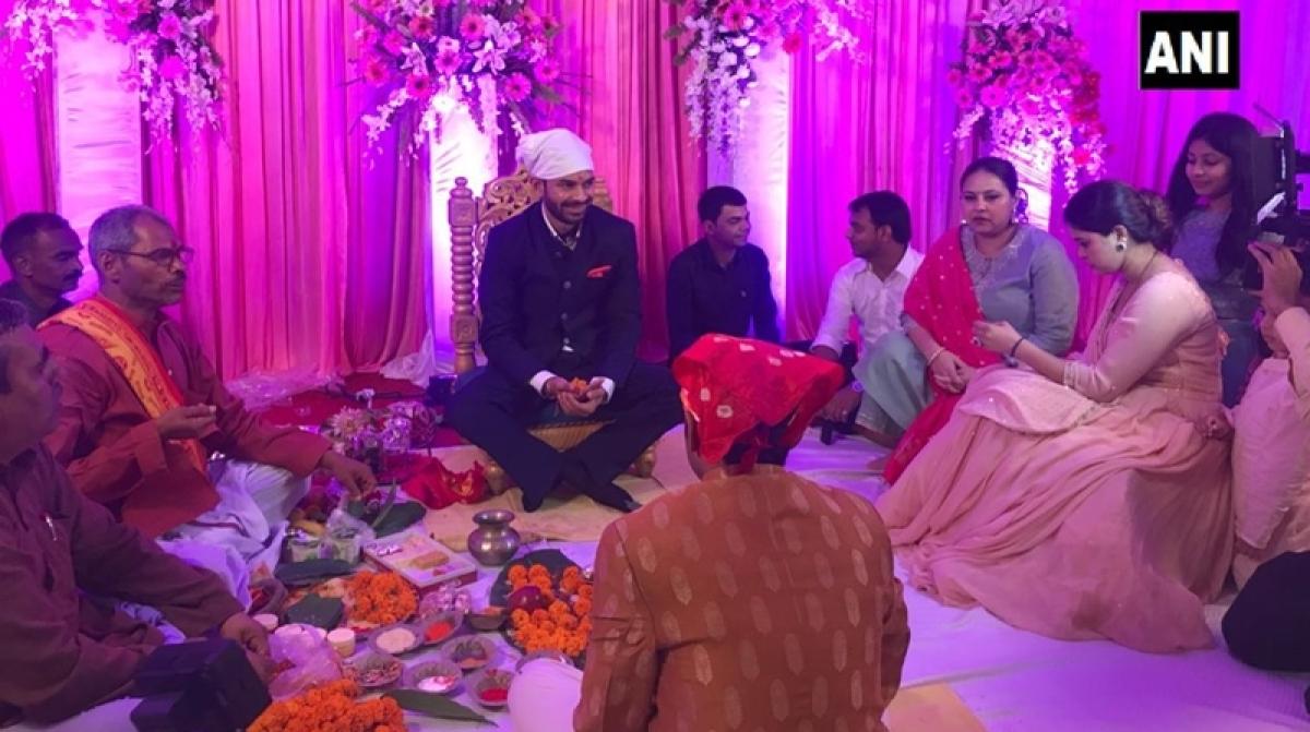 See pics: Lalu Yadav's son Tej Pratap gets engaged to Aishwarya Rai in Patna