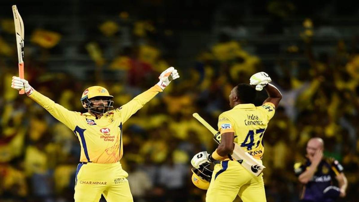 Chennai: Chennai Super Kings (CSK) batsmen Ravindra Jadeja and Dwayne Bravo celebrate after beating KKR by 5 wickets during an IPL 2018 cricket match against KKR at MAC Stadium in Chennai on Tuesday. PTI Photo by R Senthil Kumar  (PTI4_11_2018_000003B) *** Local Caption ***