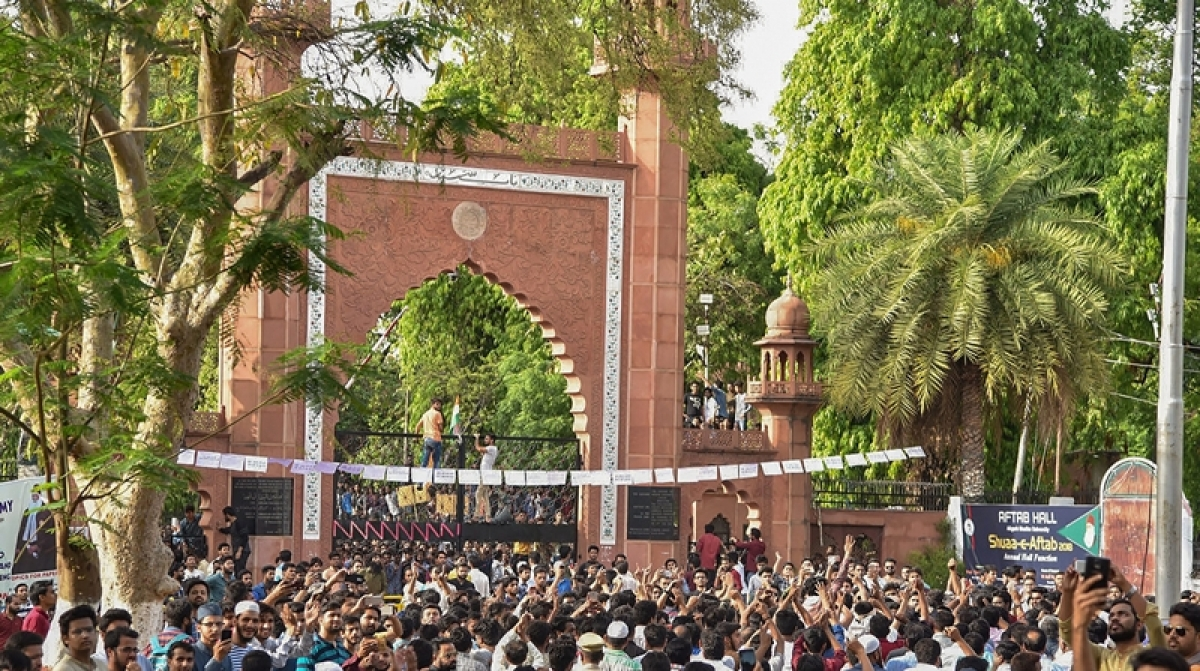 Aligarh Muslim University's Women's College joined in a protest with university students during a protest.