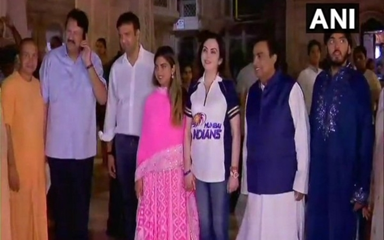 See pics: After Isha Ambani's wedding announcement, family visits ISKCON temple in Mumbai