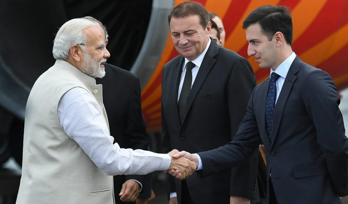 PM Modi arrives in Russia for an informal summit with President Vladimir Putin