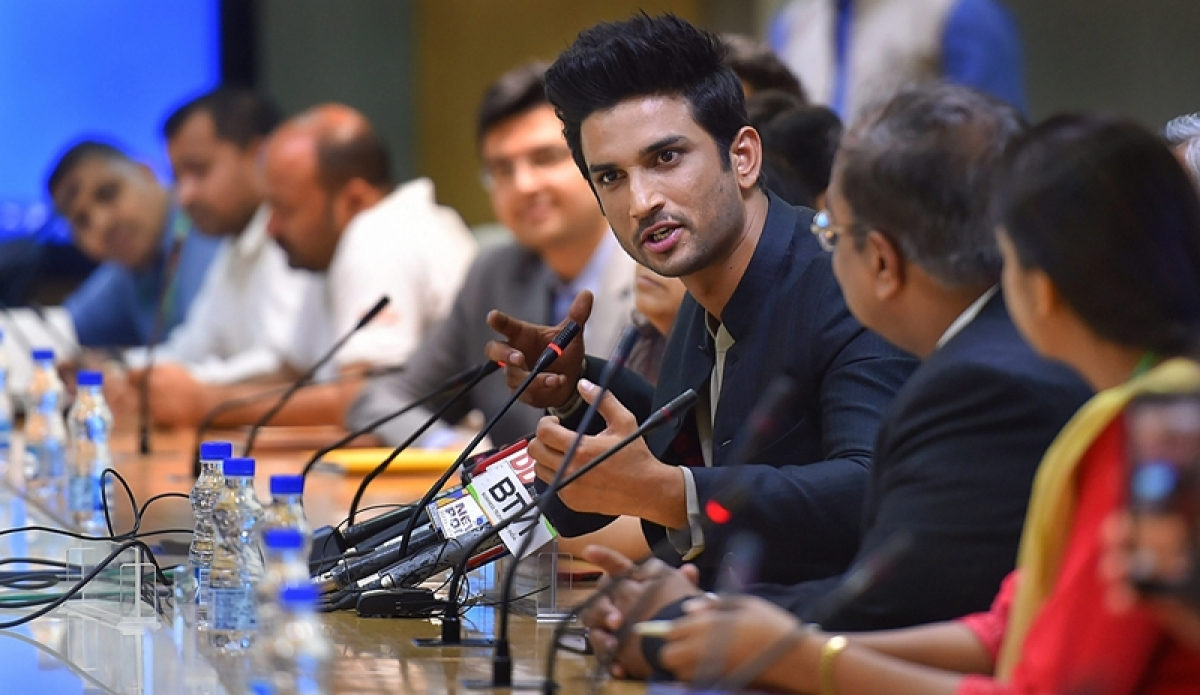 New Delhi: Bollywood actor Sushant Singh Rajput addresses the media about his collaboration with NITI Aayog to promote two of GOI's initiatives: BHIM app and Women Entrepreneurship Platform (WEP), in New Delhi, on Friday. (PTI Photo/Atul Yadav) (PTI5_25_2018_000051B)