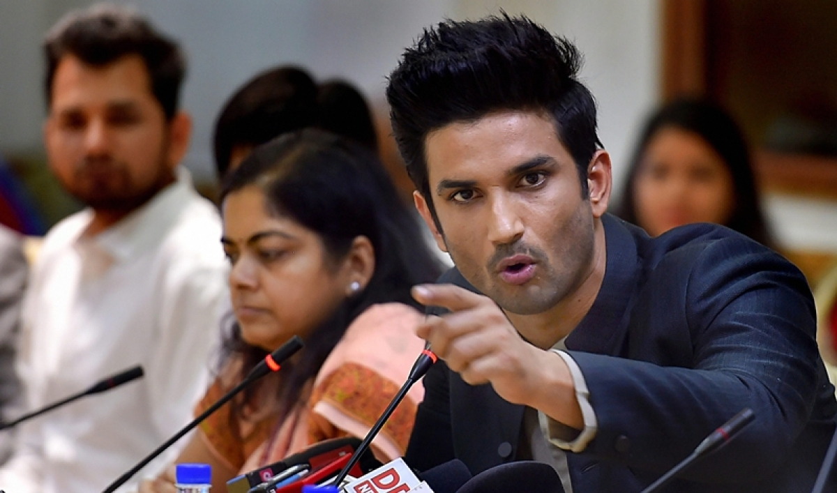 New Delhi: Bollywood actor Sushant Singh Rajput addresses the media about his collaboration with NITI Aayog to promote two of GOI's initiatives: BHIM app and Women Entrepreneurship Platform (WEP), in New Delhi, on Friday. (PTI Photo/Atul Yadav) (PTI5_25_2018_000048B)