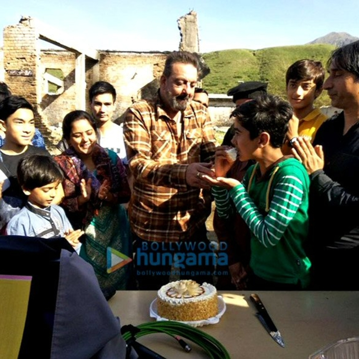 In Pictures: Sanjay Dutt celebrates a kid's birthday on the sets of 'Torbaaz'