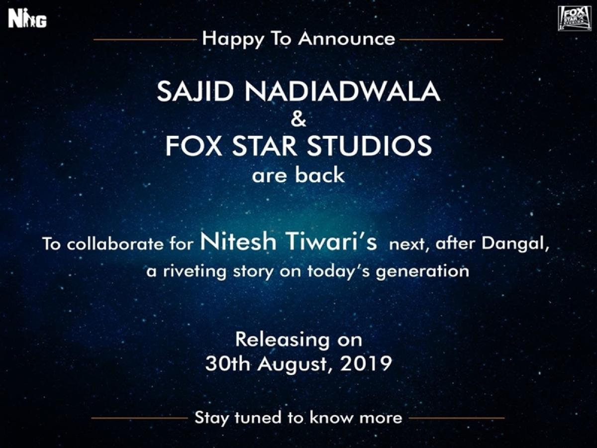 After Dangal, Nitesh Tiwari collaborates with Sajid Nadiadwala and Fox Star Studios for his next