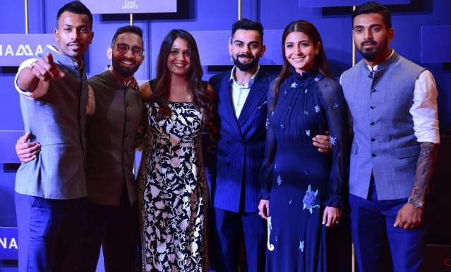 Indian cricketer Hardik Pandya, wicketkeeper Dinesh Karthik with his wife Dipika Pallikal, Indian cricket captain Virat Kohli with his wife Anushka Sharma and cricketer K. L. Rahul. PTI Photo/Shailendra Bhojak