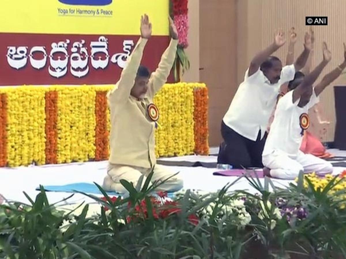 International Yoga Day 2018: Andhra Pradesh CM Chandrababu Naidu performs Yoga in Amaravati