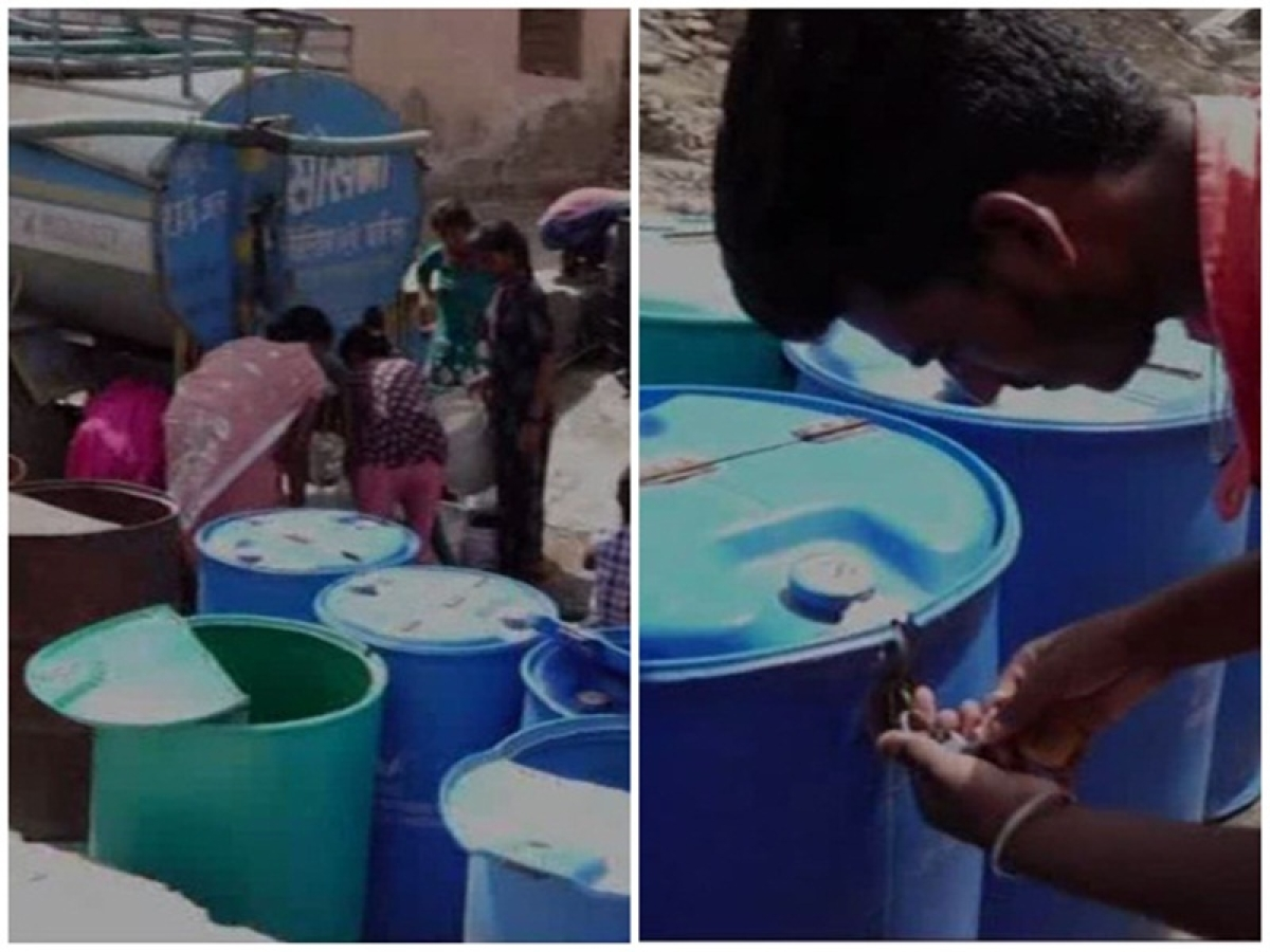 Ajmer: Water crises forces locals to lock water drums