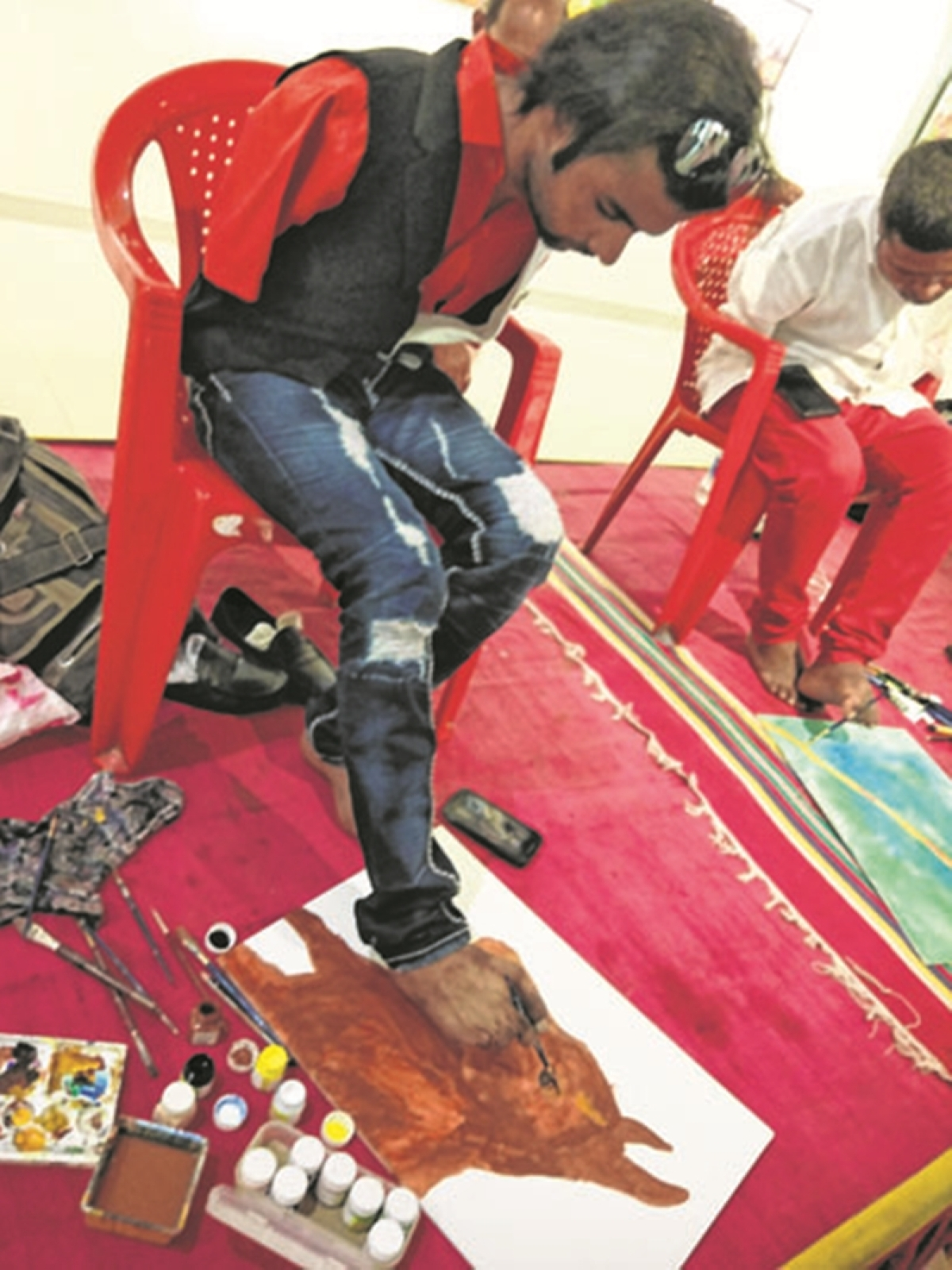 Mumbai: Mouth and foot artists explore their artistic skills