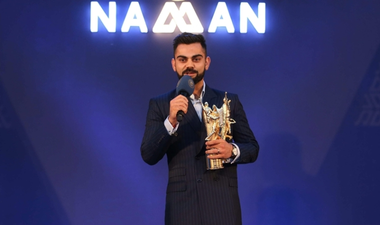 Bengaluru: Indian cricket captain Virat Kohli speaks after receiving an award during the 6th M A K Pataudi Memorial Lecture and BCCI Awards, in Bengaluru on Tuesday, June 12, 2018. (PTI Photo/BCCI)(PTI6_12_2018_000211B)