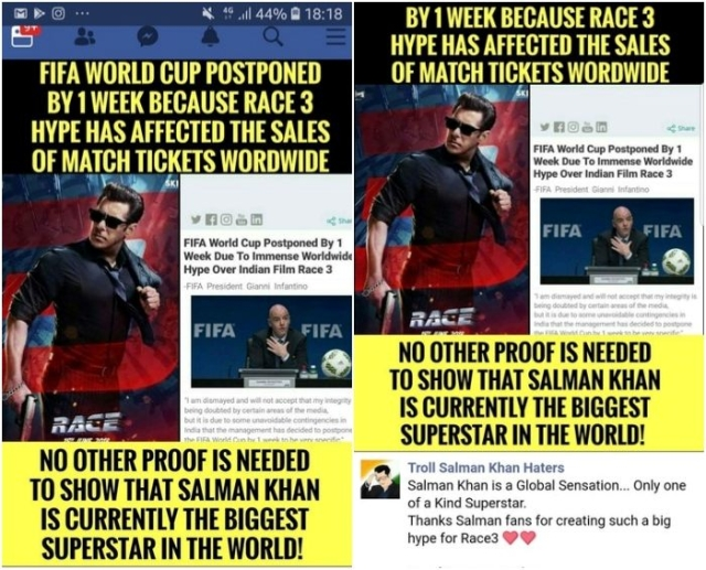 Fake News Alert: Salman Khan fans claim that FIFA World Cup has been postponed by a week for Race 3 release