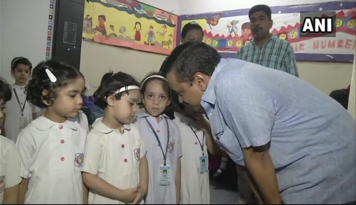 Delhi CM Arvind Kejriwal, Manish Sisodia visit school where KG students were confined in basement