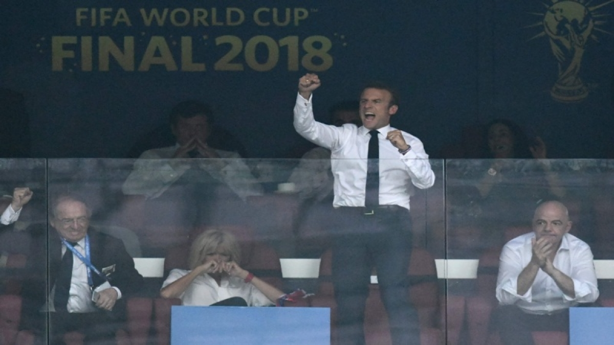 FIFA World Cup 2018: French President Emmanuel Macron cheers from stands, 'dabs' with players
