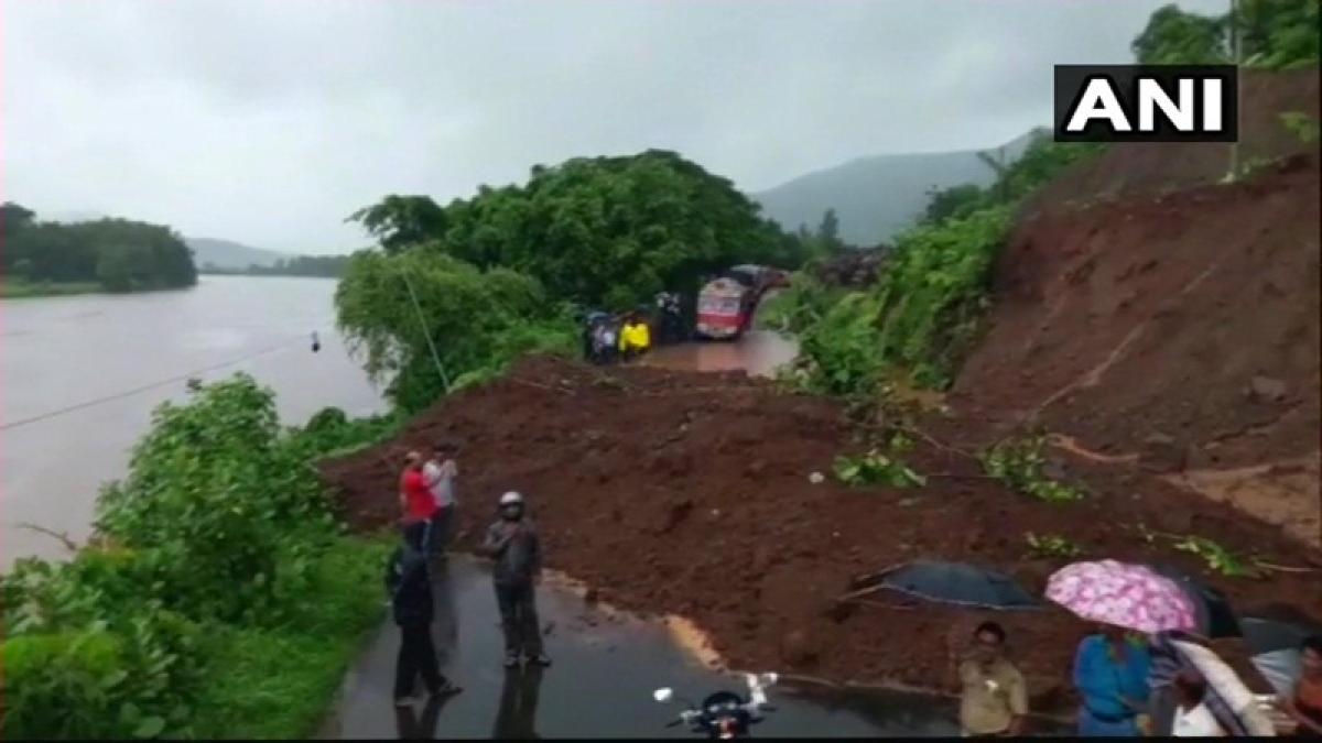 Mumbai-Goa highway traffic halted following landslide in Kemburli, see pics