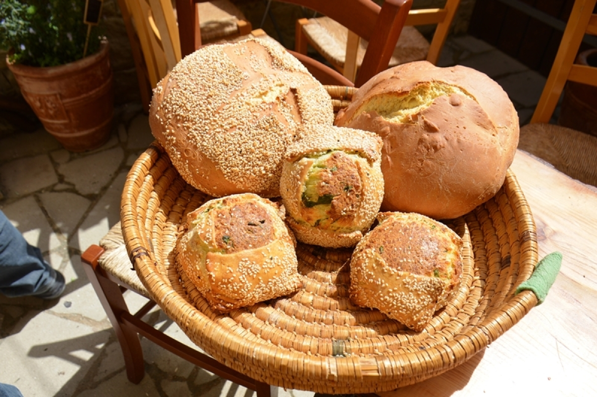 Baked traditional bread and cheese pastry