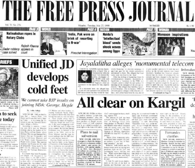 On This Day in History! July 26, 1999 – India and Pakistan's