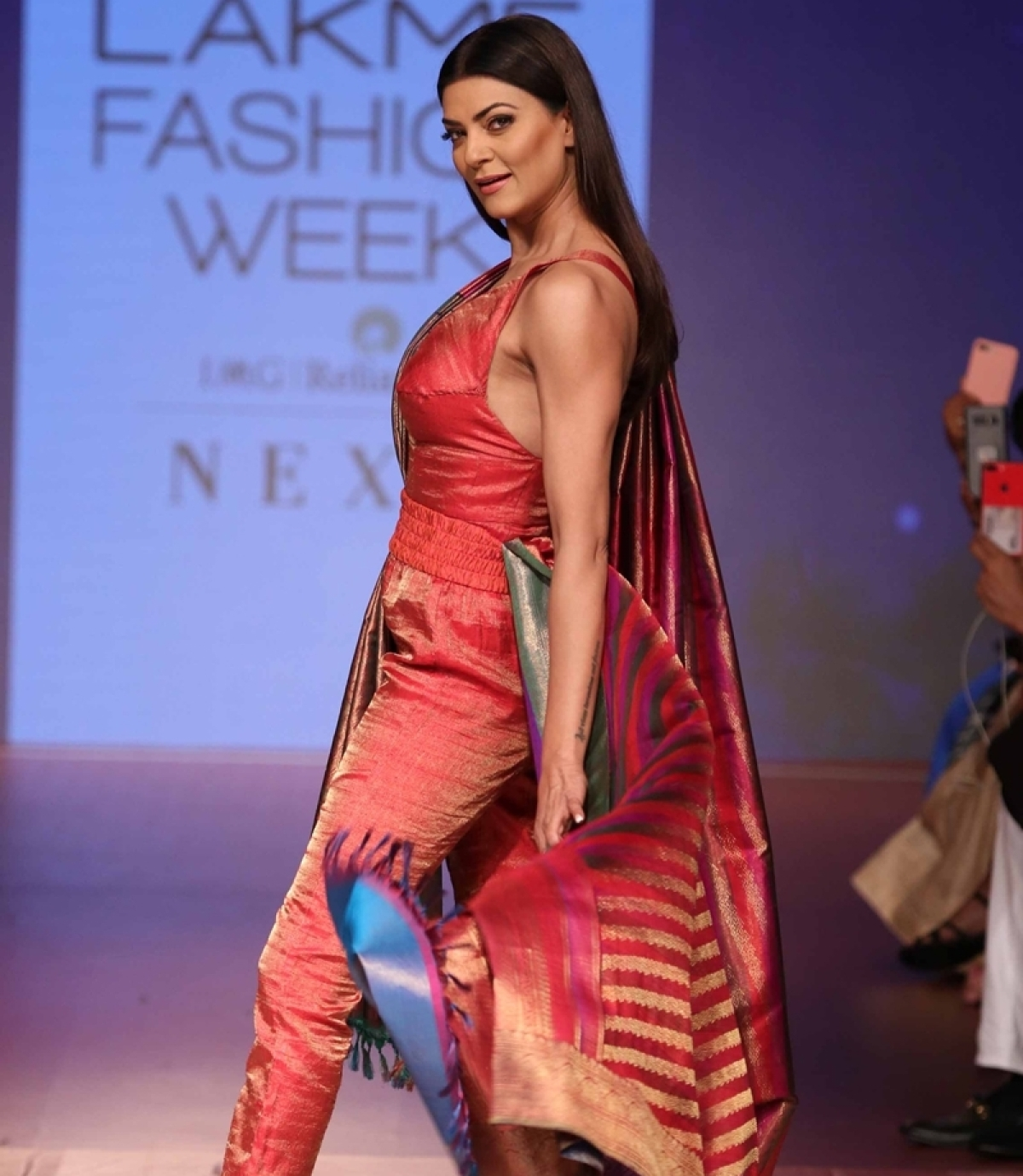 Lakme Fashion Week 2018 Day 2: Sushmita Sen dazzles on ramp in a jumpsuit with saree