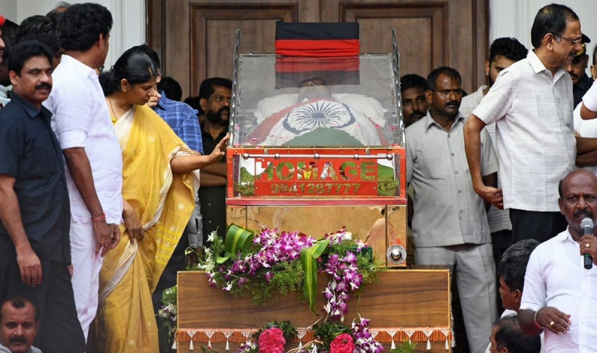 Karunanidhi funeral procession to begin at 4 pm, DMK chief to be laid to rest near Anna memorial