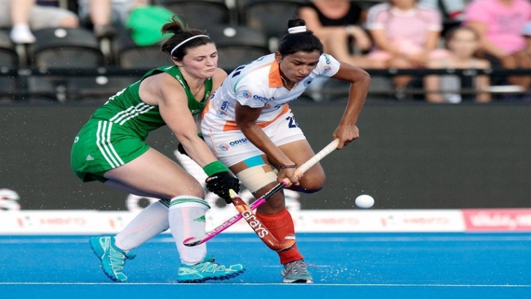 London: India captain Rani Rampal tries to get past her marker during Women's Hockey World Cup encounter against Ireland in London on Thursday,Aug 2,2018  (PTI Photo)