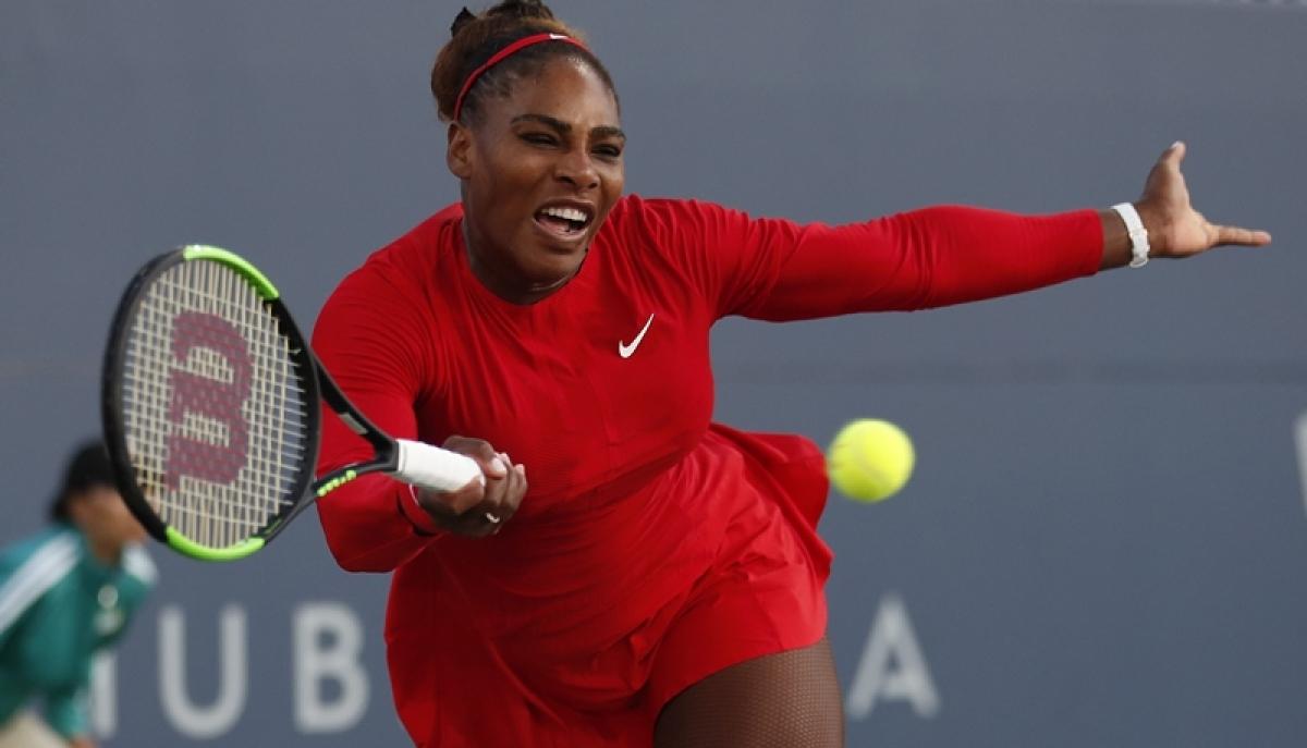 Serena Williams returns the ball to Johanna Konta during the Mubadala Silicon Valley Classic tennis tournament in San Jose. AP/PTI Photo