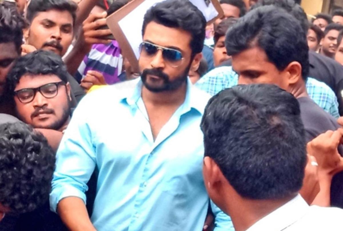 Watch video: South superstar Suriya gets MOBBED on NGK set, shot stalled for the day
