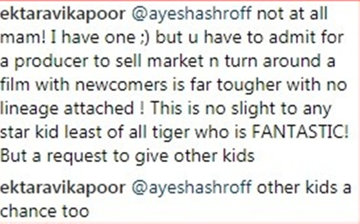 Nepotism is back! Ekta Kapoor and Tiger Shroff's mom get into heated debate on Instagram; read here