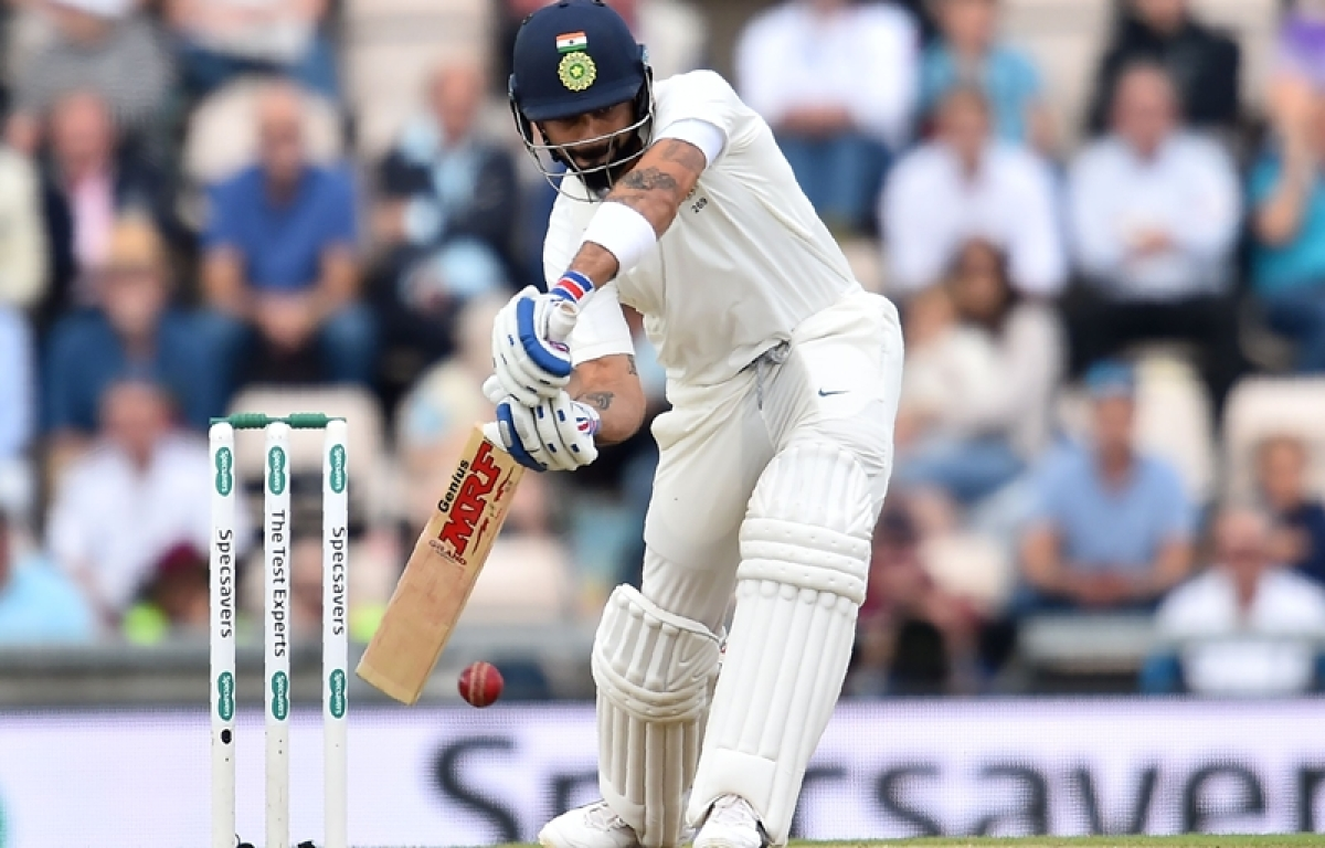 Virat Kohli bats during the second day of the fourth Test at the Ageas Bowl in Southampton. Photo by Glyn KIRK / AFP