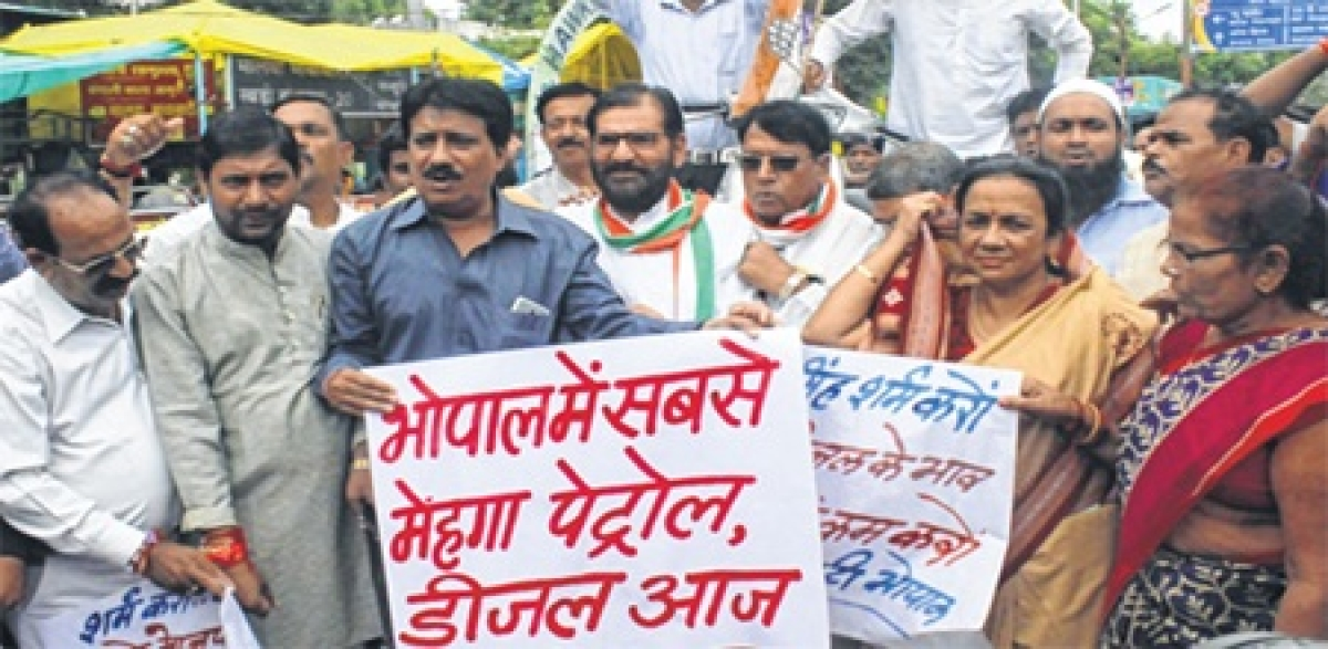 Bhopal: Intense protest in MP over hike in petrol and diesel prices