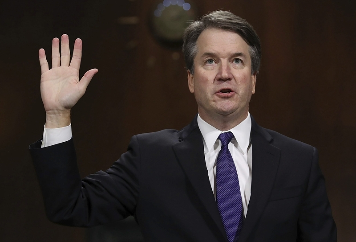 Supreme Court nominee Brett Kavanaugh is sworn in to testify before the Senate Judiciary Committee on Capitol Hill in Washington. AP/PTI