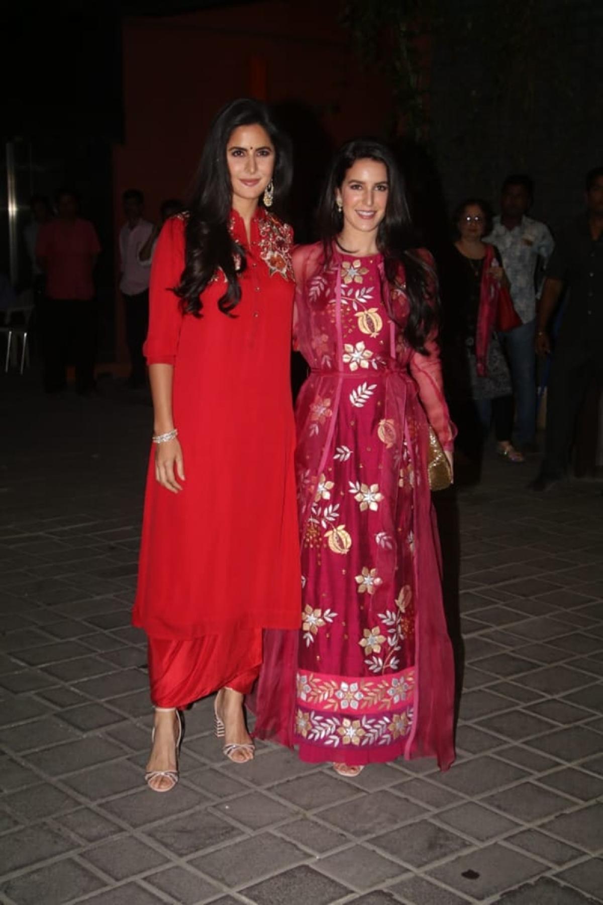 Katrina Kaif and her sister Isabelle Kaif at Mukesh Ambani's house. Photo By: Viral Bhayani
