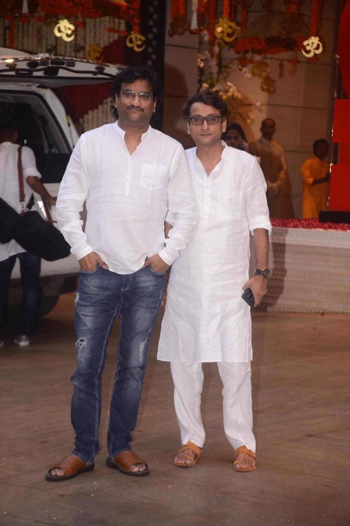 Musician duo Ajay-Atul at Mukesh Ambani's house.Photo By: Viral Bhayani