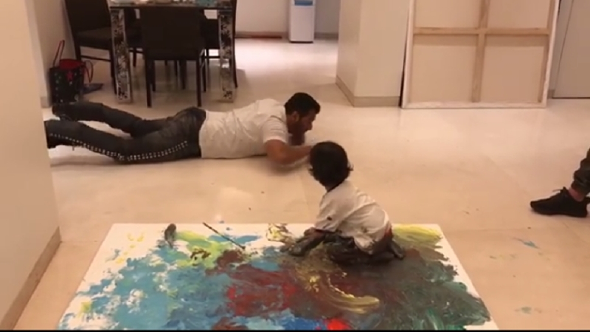 'Mamu' Salman Khan teaching nephew Ahil Sharma his first canvas painting is a cute treat of the day; watch