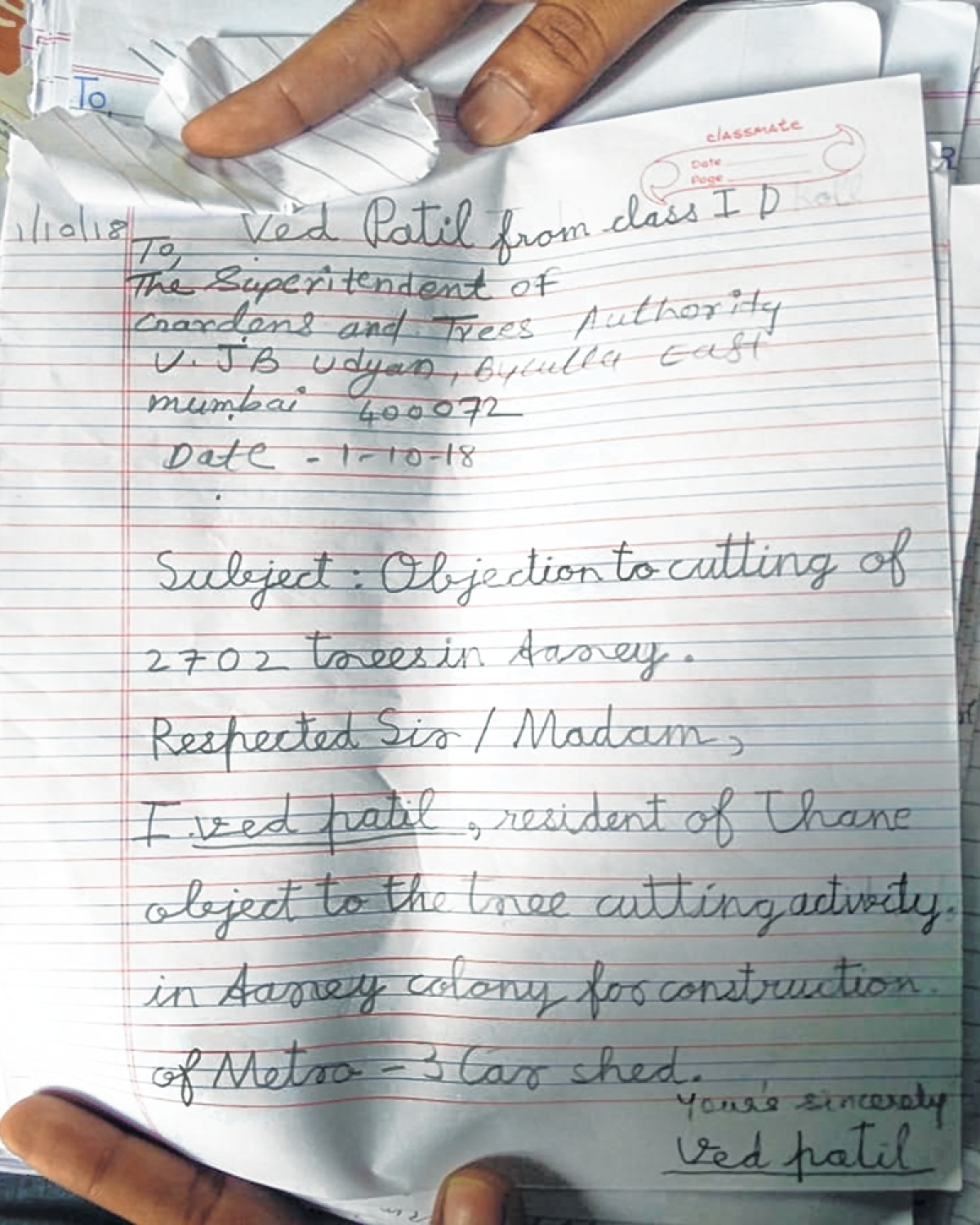 Tree-felling at Aarey: Class I student's letter of dissent
