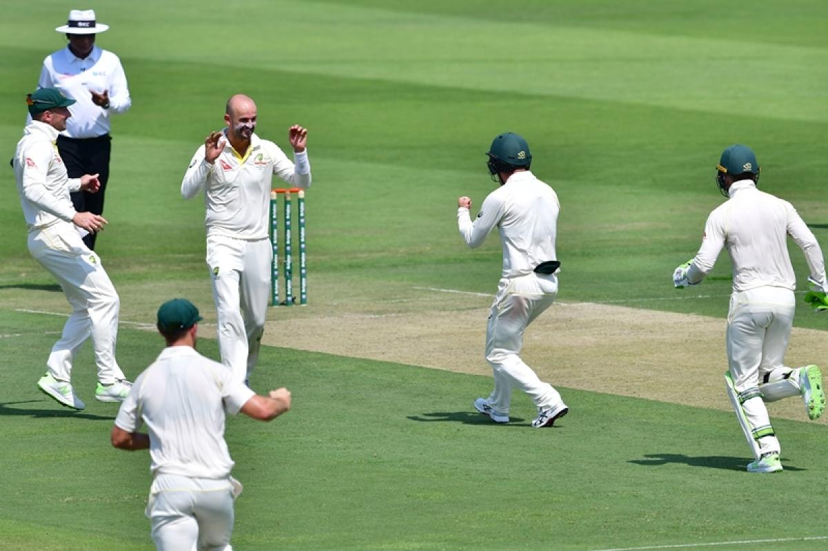 Pakistan vs Australia 2nd Test Day 1: Nathan Lyon takes 4-0 across six balls as Pakistan slumps to 77-5 at lunch